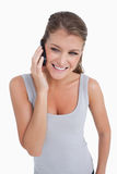 Portrait of a woman making a phone call Stock Image