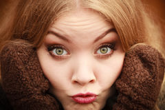 Portrait woman making silly face close up Stock Image