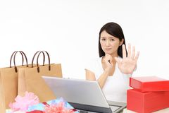 Disappointed Asian woman stock images
