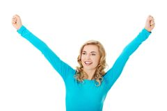 Portrait of a woman making winner gesture Royalty Free Stock Images