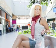 Portrait of woman at the mall with bags copyspase Stock Photography