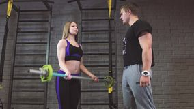 Portrait of woman and man lifting barbells during a gym workout at fitness center. 4k stock video