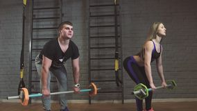 Portrait of woman and man lifting barbells during a gym workout at fitness center. Slow motion stock video