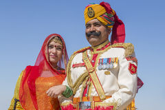 Portrait woman and man wearing traditional Rajasthani dress participate in Mr. Desert contest as part of Desert Festival in Jaisal Stock Photos