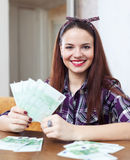 Portrait of  woman with many euro Stock Image