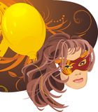 Portrait of woman in masquerade mask and balloon Stock Images