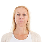 Portrait woman of mature age. Blond woman of mature age in portrait isolated over white background Stock Photos