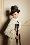 Portrait of woman in men's old-fashioned clothing Stock Photography