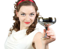 Portrait of woman with metal snifter Stock Photo