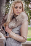 Portrait of a woman in mink fur coat Royalty Free Stock Photography