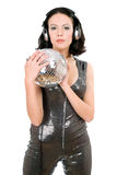 Portrait of woman with a mirror ball Stock Photography