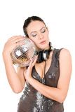 Portrait of woman with a mirror ball Royalty Free Stock Photo