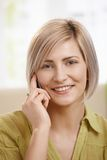 Portrait of woman with mobile phone Stock Photography
