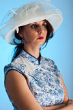 Portrait of woman in modern hat Stock Images