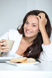 Portrait of woman in he morning Stock Image