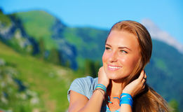 Portrait of woman in the mountains Stock Images