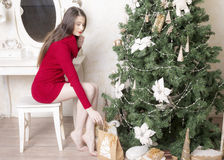 Portrait of a woman near a Christmas tree. Royalty Free Stock Photo