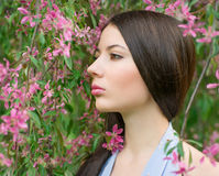 Portrait of a woman near a flowering tree Royalty Free Stock Image
