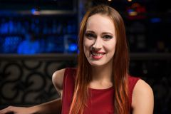 Portrait of a woman in a nightclub Royalty Free Stock Photo
