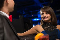 Portrait of a woman in a nightclub Royalty Free Stock Images