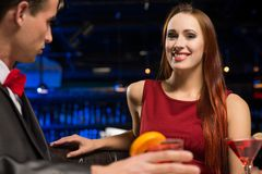 Portrait of a woman in a nightclub Royalty Free Stock Image