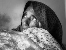 Portrait of a woman. An old an old woman who is looking carefully Royalty Free Stock Images