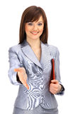 Portrait of a woman with an open hand Royalty Free Stock Photography