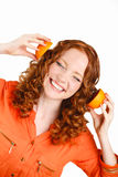 Portrait of a woman with oranges on white Royalty Free Stock Photo