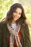 Portrait Of Woman Outdoors In Autumn Landscape Stock Photos