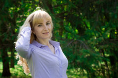 Portrait of a woman outdoors. Stock Image