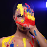 Portrait of a woman painted conceptual body art Royalty Free Stock Images