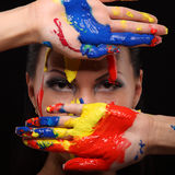 Portrait of a woman painted conceptual body art Stock Photography