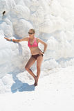Portrait of woman in Pammukale Stock Photo