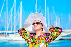 Portrait of a woman in panama hat Royalty Free Stock Photos