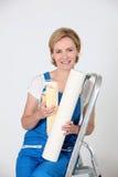 Portrait of a woman paperhanger Stock Image