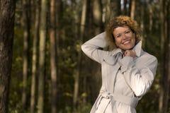 Portrait woman in park closeup Stock Photo