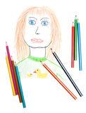 Portrait of the woman, pencil Royalty Free Stock Photo