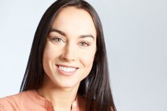 Portrait Of Woman With Perfect Teeth And Beautiful Smile Stock Image