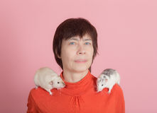 Portrait of a woman with pets Royalty Free Stock Images