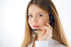 Portrait of woman phone operator Royalty Free Stock Photography