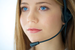 Portrait of woman phone operator Royalty Free Stock Photos