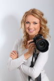 Portrait of woman photographer Royalty Free Stock Images