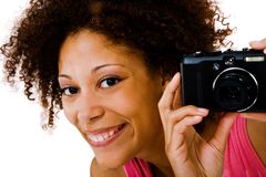 Portrait of a woman photographing Royalty Free Stock Images