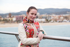 Portrait a woman on pier Royalty Free Stock Images