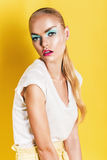 Portrait of woman with pink lips in white top Royalty Free Stock Photos
