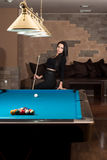Portrait Of A Woman Playing Billiards Royalty Free Stock Photo