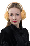 Portrait of a woman with plush earmuffs Royalty Free Stock Photography