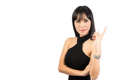 Portrait woman pointing at copy space Royalty Free Stock Photos