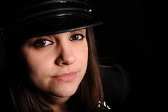 Portrait of woman in police officer uniform Stock Images