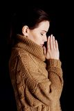 Portrait of a woman praying to God Royalty Free Stock Image